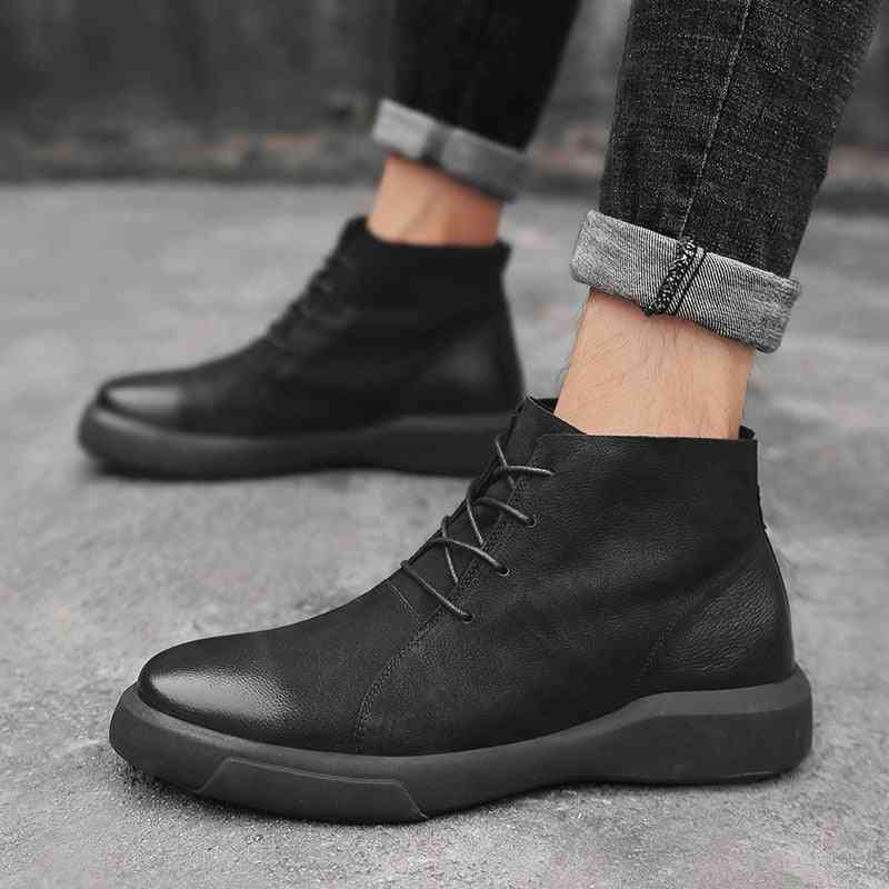 Men Boots Winter Leather Casual Shoes Warm Snow Male Rubber Ankle