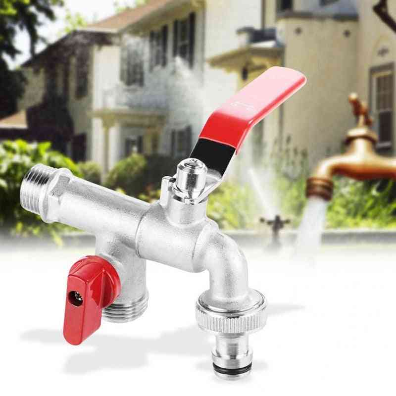 Double Valve Water Tap Brass, Faucet, Home Outdoor Garden Tool