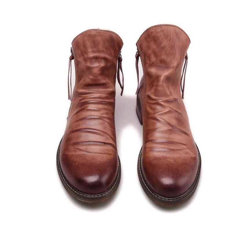 Vintage British Leather Shoes With Round Toe, Double Zip Ankle Boots