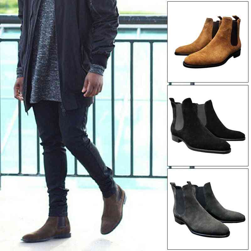 Men Suede Ankle Formal, High Top Shoes, Anti-slip & Breathable
