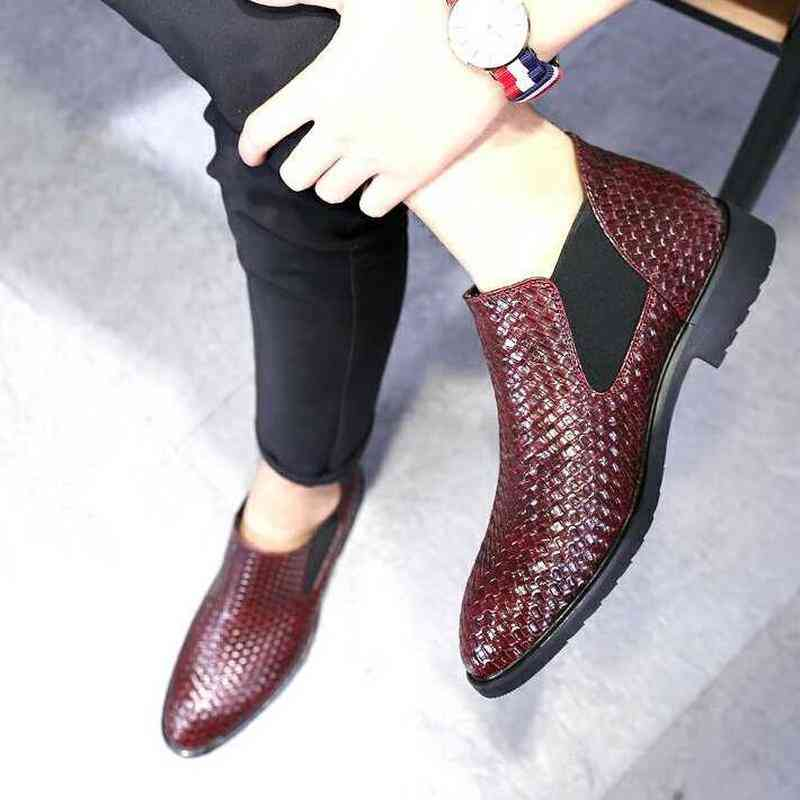 Men's Woven Single Boots, Chelsea Fashion Ankle Working Shoes