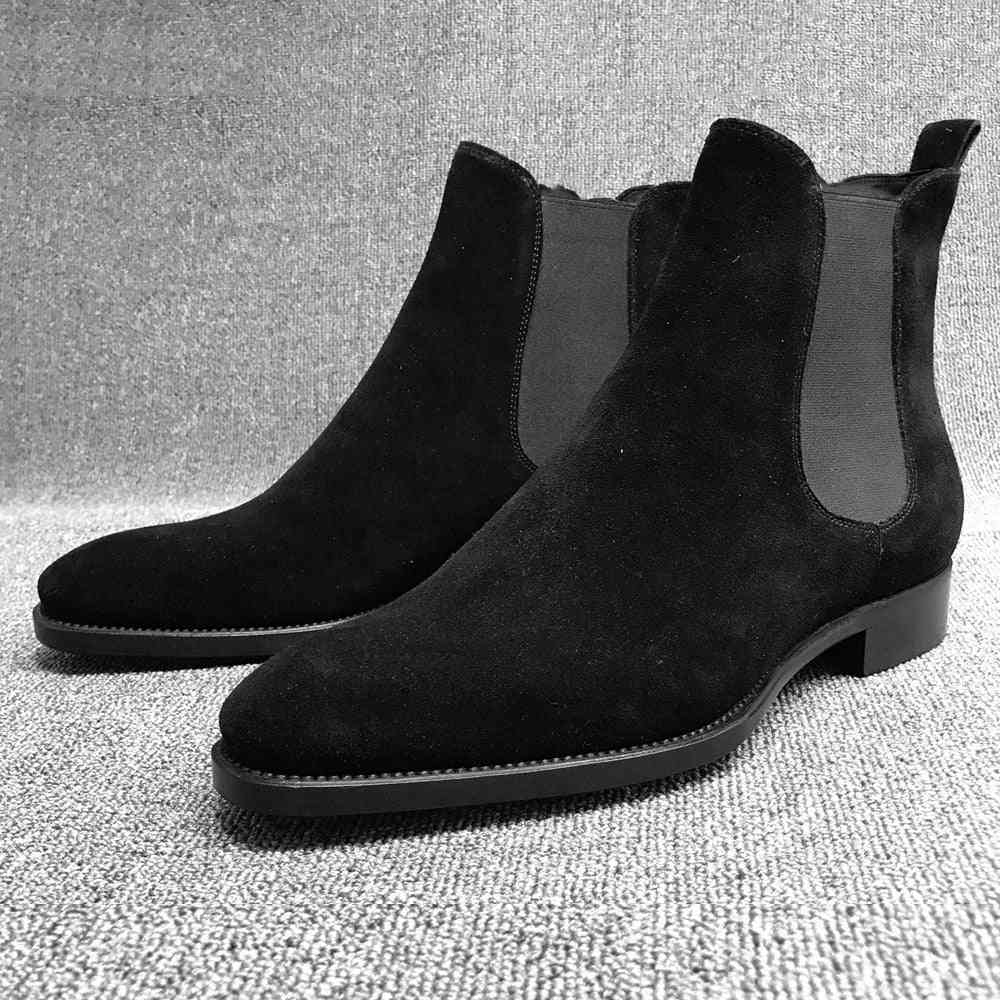 Slip On Pointed Toe Ankle Boots For Man