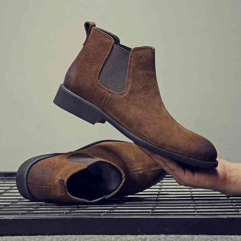 Genuine Leather Winter Chelsea Slip-on Boots
