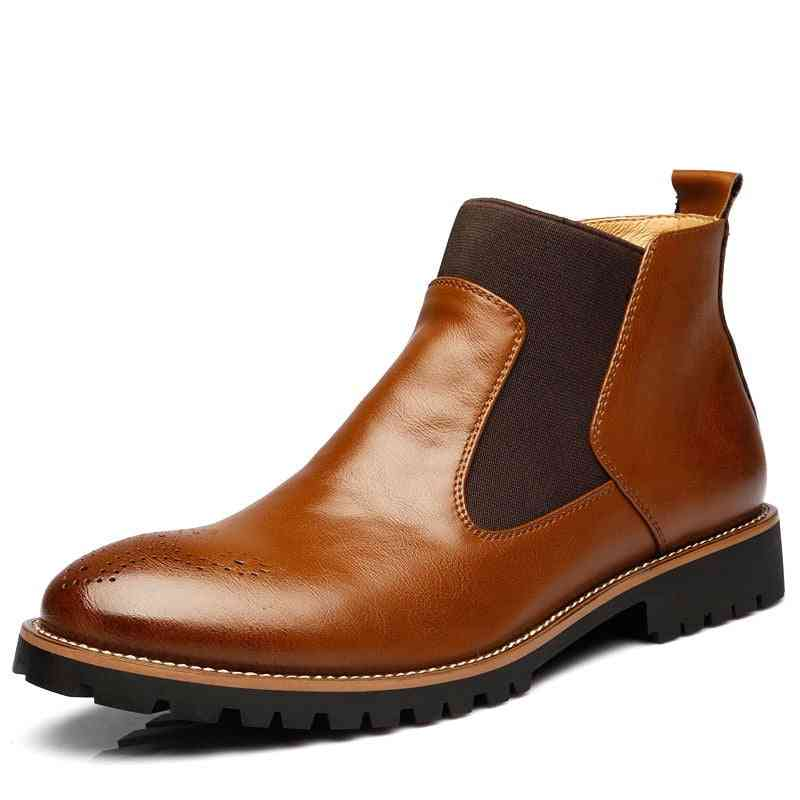 Genuine Leather Ankle Boots, Winter Work Shoes