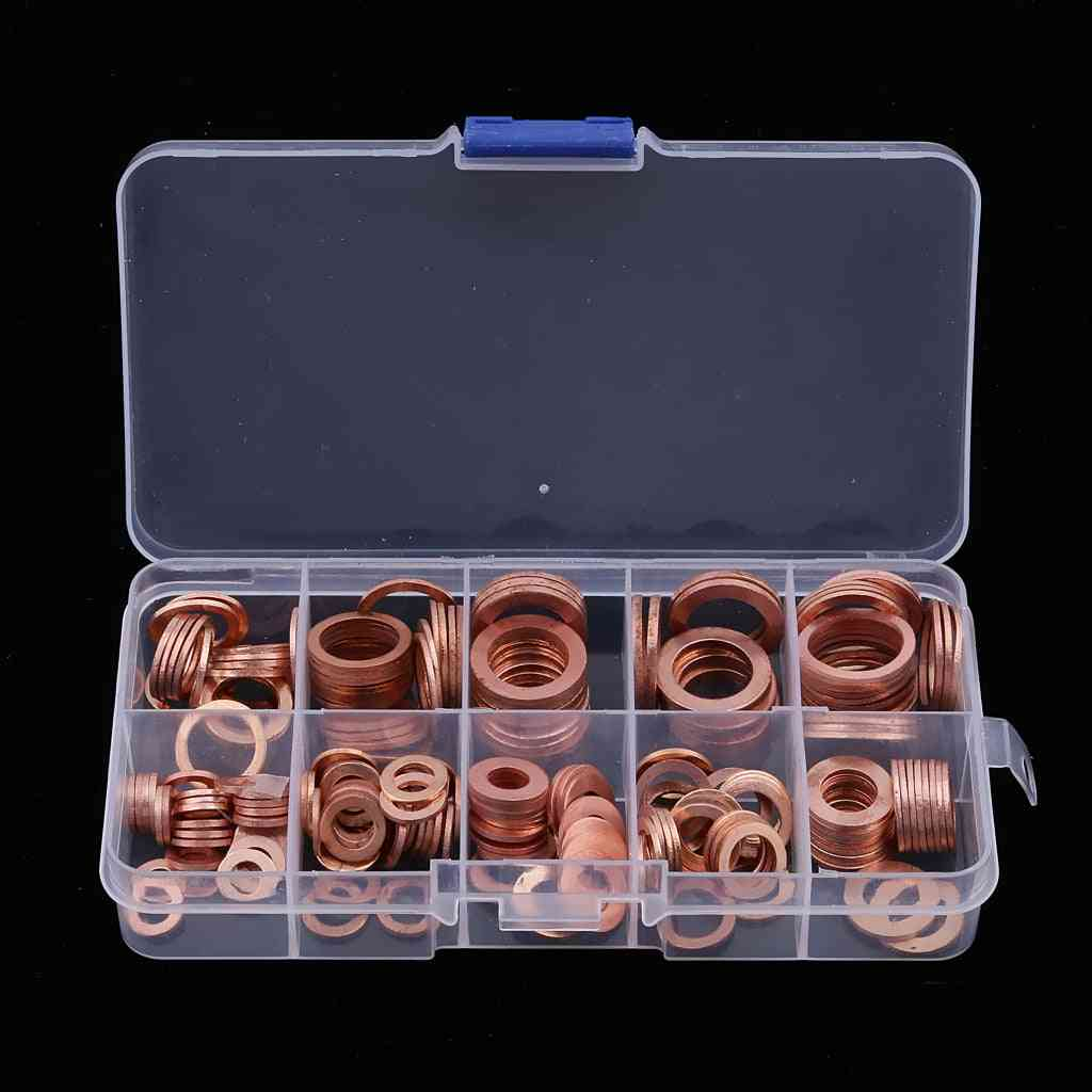 Car Engine Oil Pen Gasket Electrical Washer Sealing Ring Assortment Sump Plug Washer