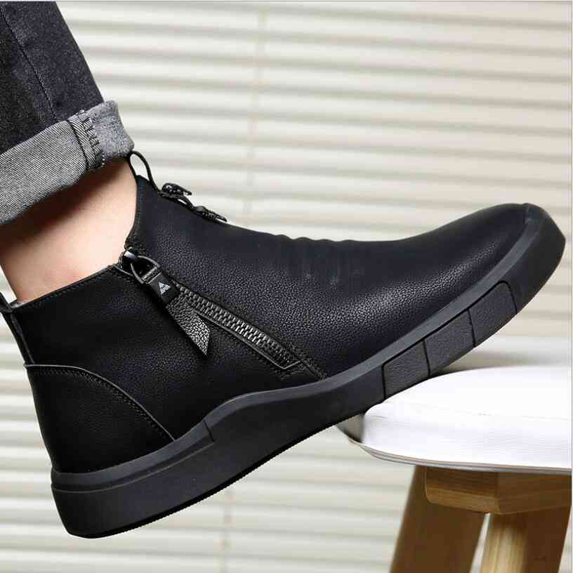 Genuine Leather 100%wool Lining Winter Warm Ankle Boots