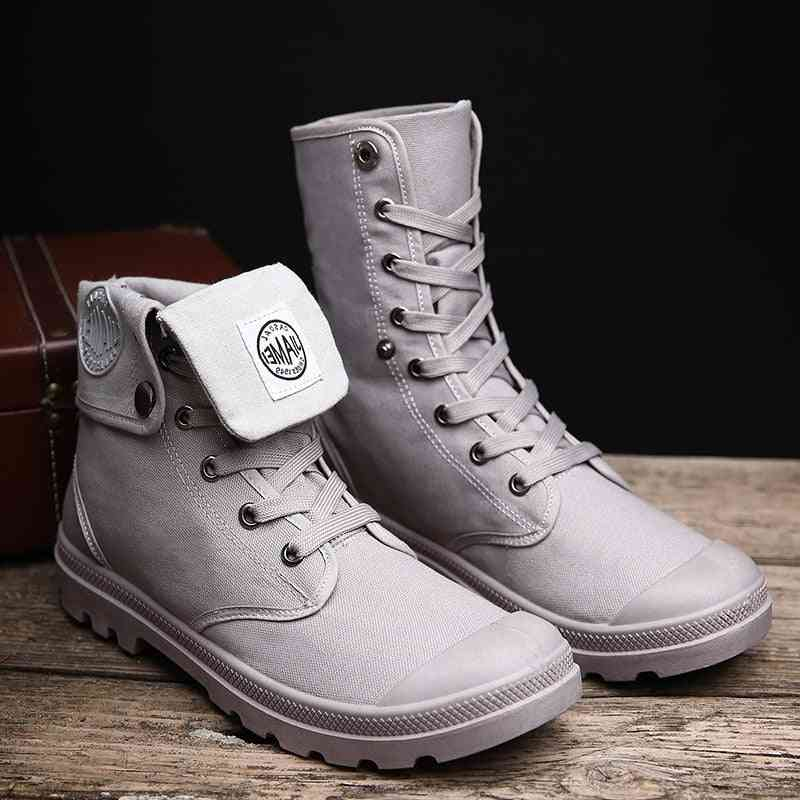 Men Military Boots, High Top Men Casual Shoes Ankle Boots