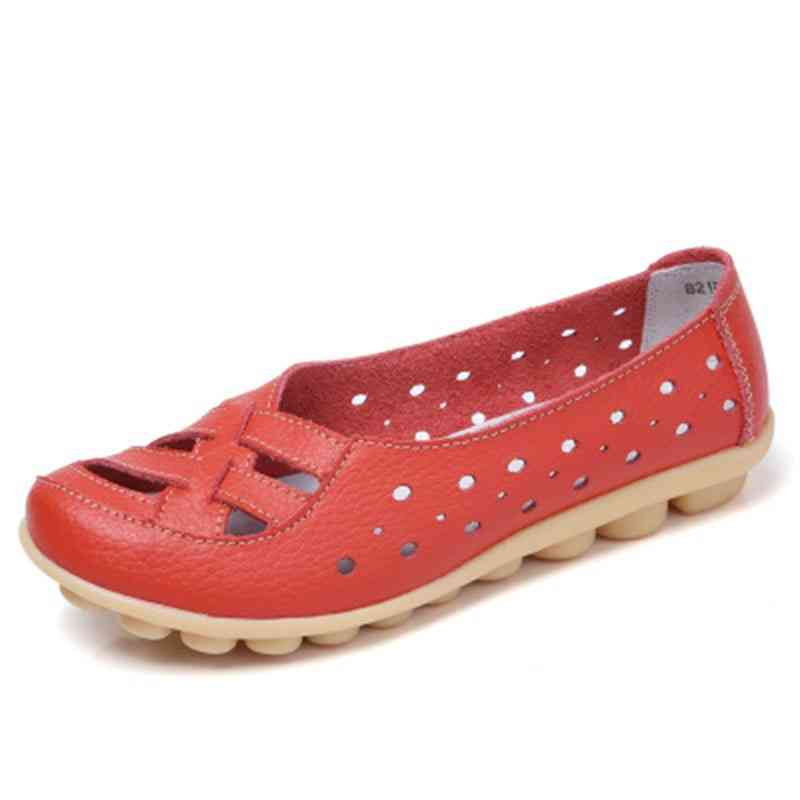 Women Genuine Leather Casual Flat Ballet Loafers Shoes