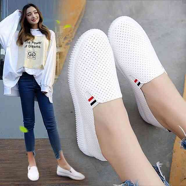 Women Sneakers Flats Cut-out Loafers Pu Leather Slip-on Shoes