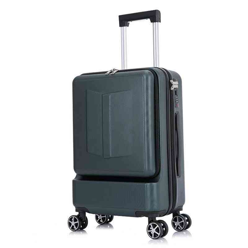 Front Pocket Rolling Luggage Trolley, Password Box, Boarding Suitcase