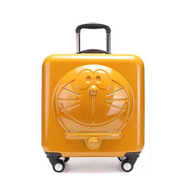 3d Doraemon Cartoon Printed Rolling Wheels Trolley Bag