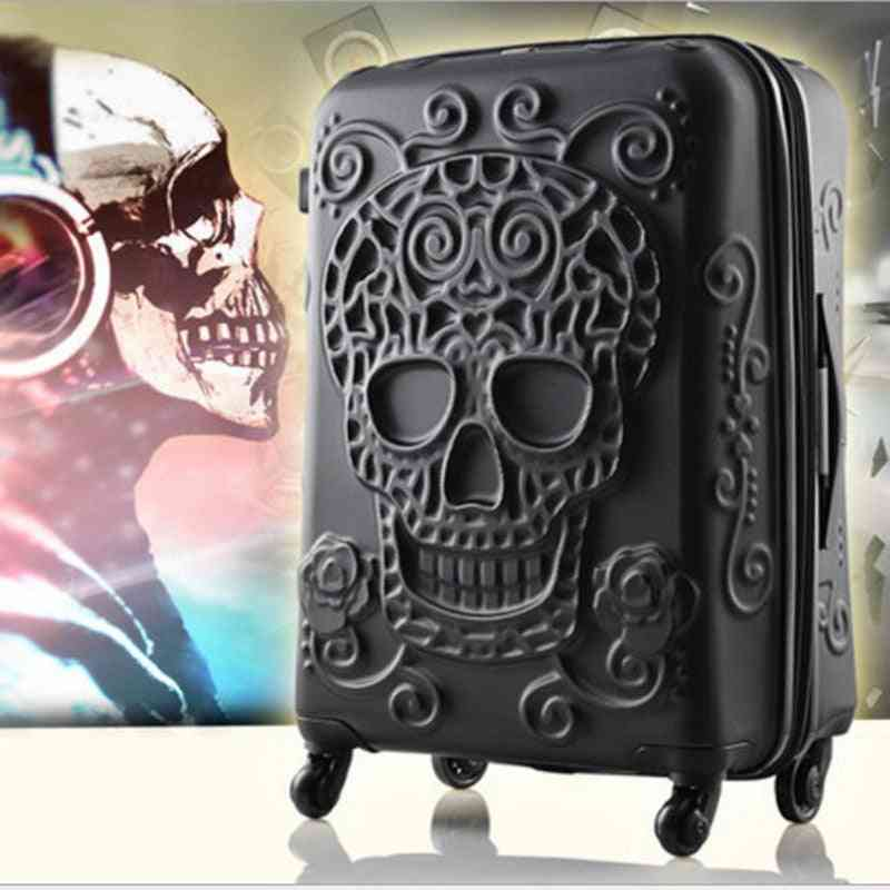 3d Skull Design Engraved Rolling  Luggage Trolley