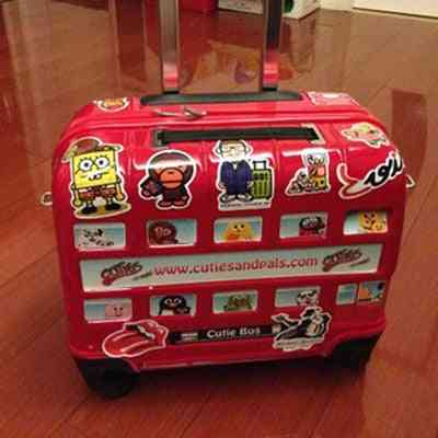 Cute Bus Car Pattern Rolling Luggage Suitcase