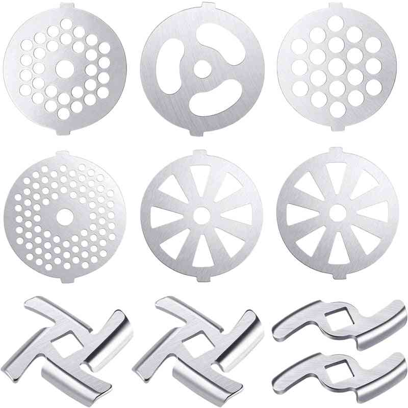 Stainless Steel Meat Grinder Blades, Plate Discs, Food Accessories