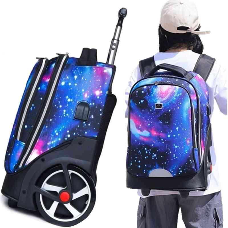 Teenagers School Wheeled Usb Charging Port Backpack
