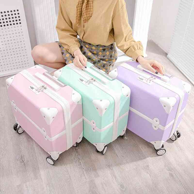 Cabin Travel Suitcase Retro Carry On Small Rolling Luggage Trolley Travel Bags