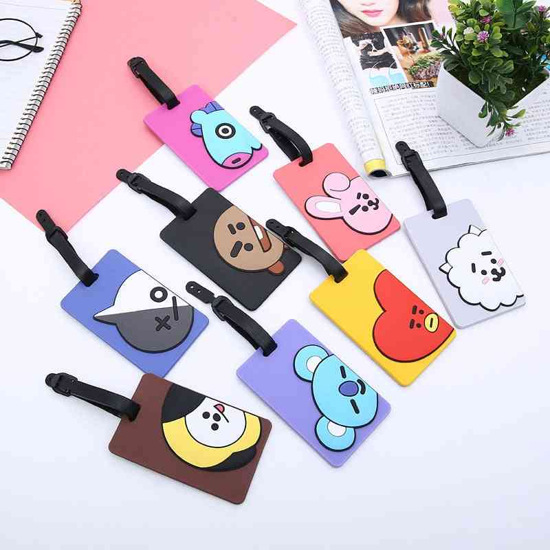 Cute Cartoon Printed, Pvc Silicone Luggage Tags For Travel