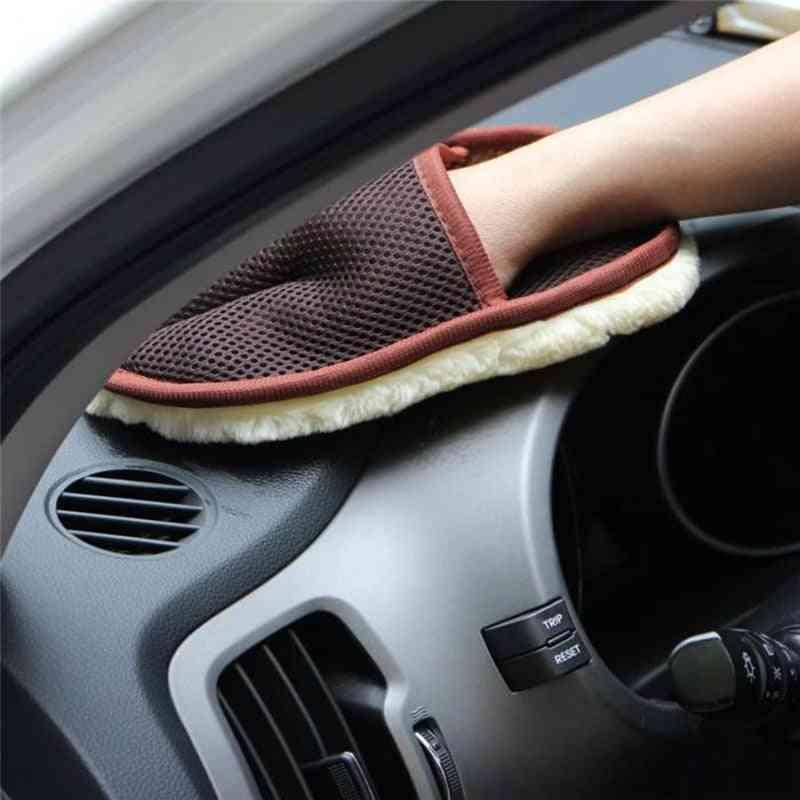 Car Wool Cashmere Washing Gloves For Bmw F30 F10 X5 E53 F15 E70 E71 X6 F16 X1 E84 F48 X3 X4 F34 F31 F11 F07