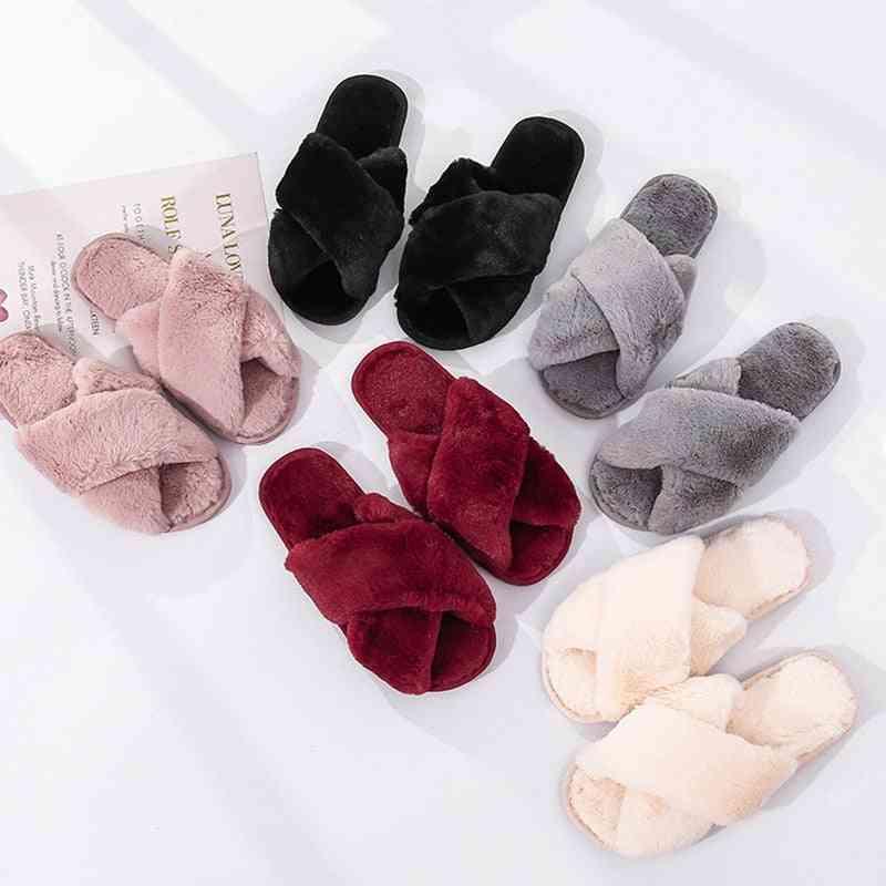 Winter Women House Slippers, Faux Fur, Warm Shoes, Female Slides