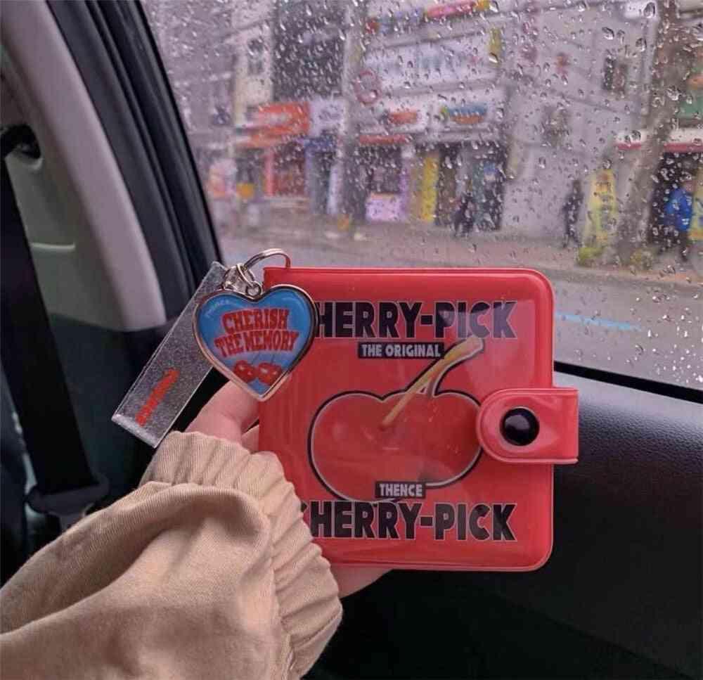 Girls Card Holder, Bag, Clutch, Women Purse, Red Cherry Wallet