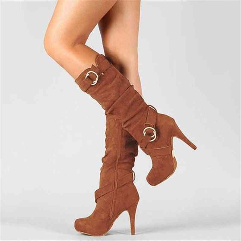 Thin High Heels, Round Toe Shaped Women's Pu Leather Boots