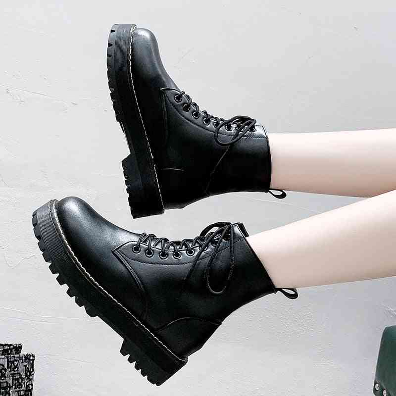 Women's British Style Round Toe Lace-up Leather Shoes