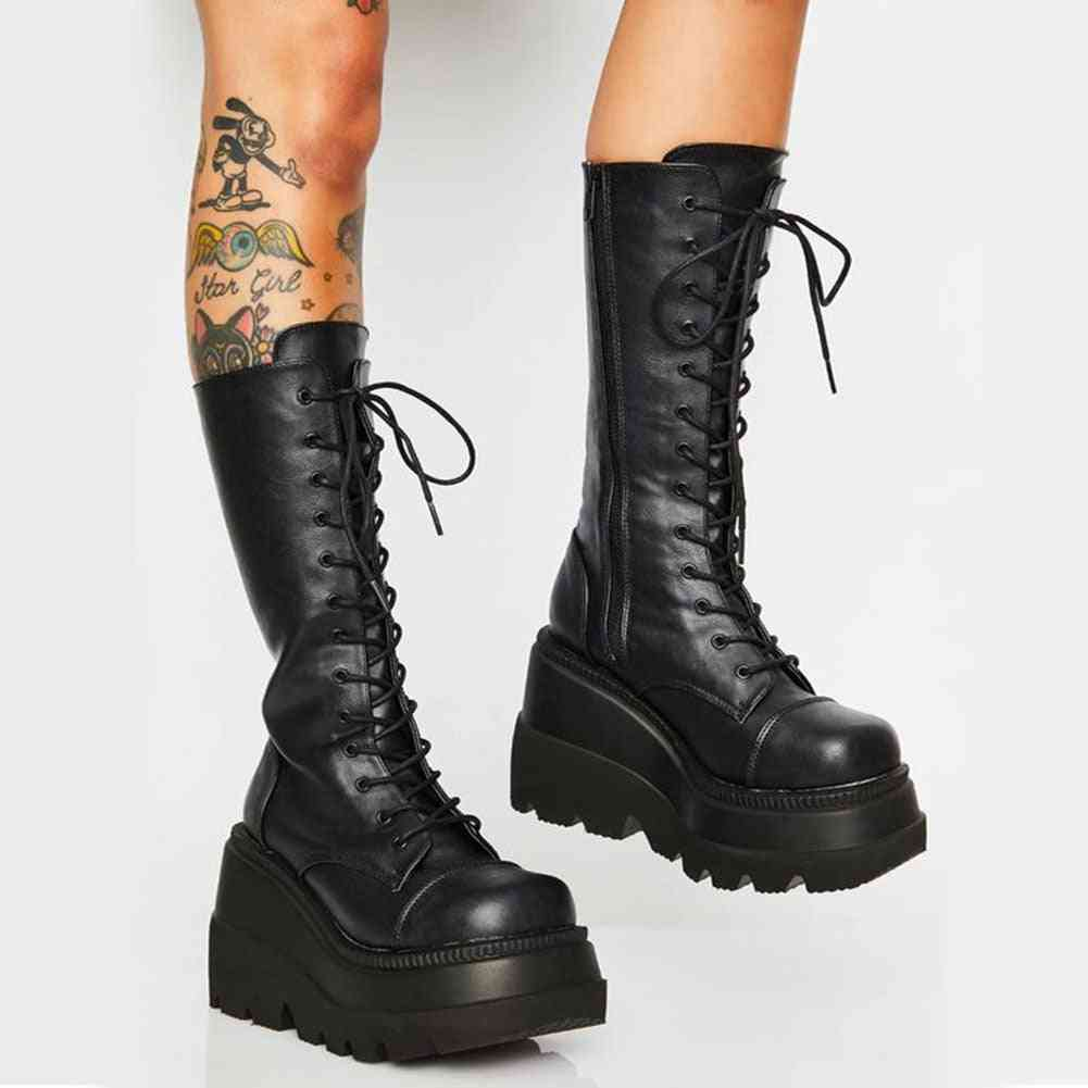 Mid-calf Thick Bottom Wedge-women Boots