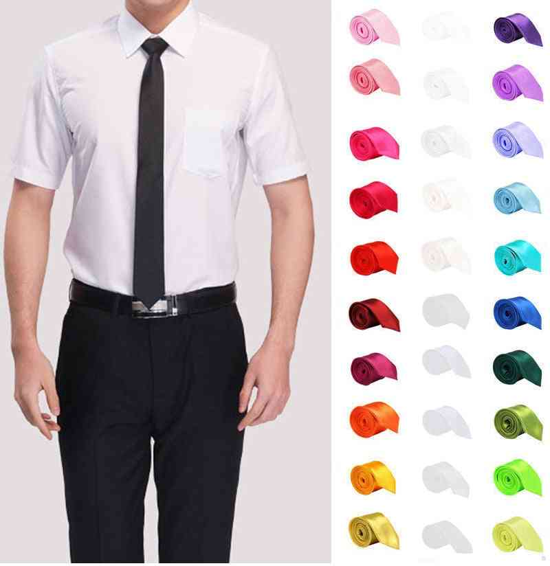 Slim Solid Color Polyester Narrow Cravat Party Formal Ties