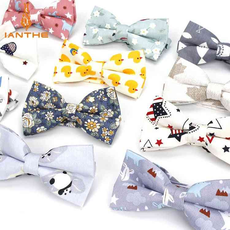Men's Adjustable Formal Cotton Vintage Animal Print Bow Tie Butterfly Bowtie Tuxedo Bows Groom Prom Party Accessories