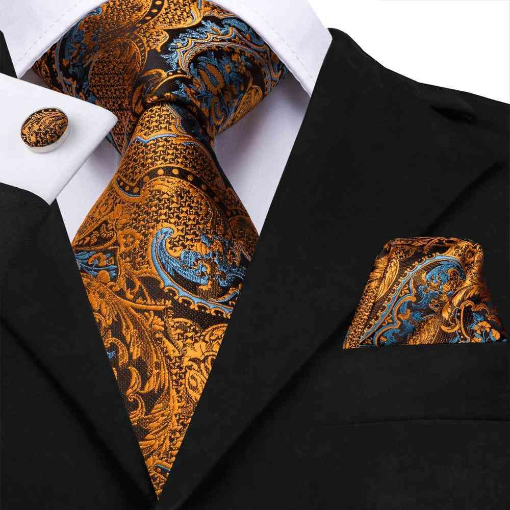 Hi-tie Silk Luxury Floral Black Gold Paisley Neck Tie Pocket Square Cufflinks Set