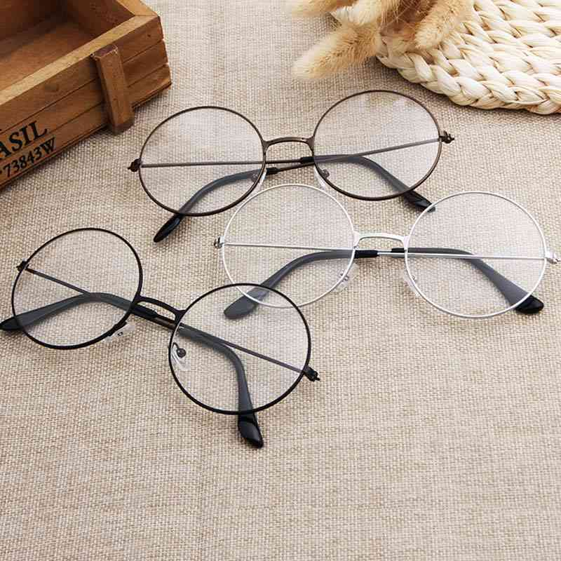 Round Plain Clear Ultra Light Metal Decoration Glasses For Women