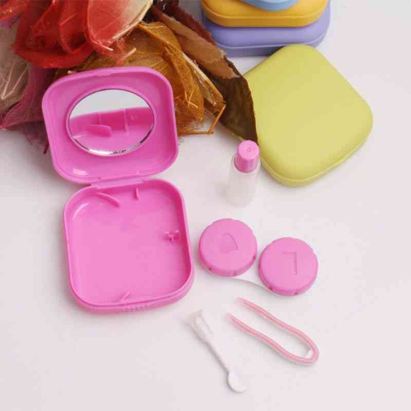 Pocket Portable Mini Contact Lens Case Easy Carry Make Up Beauty Pupil Storage Box Mirror Container