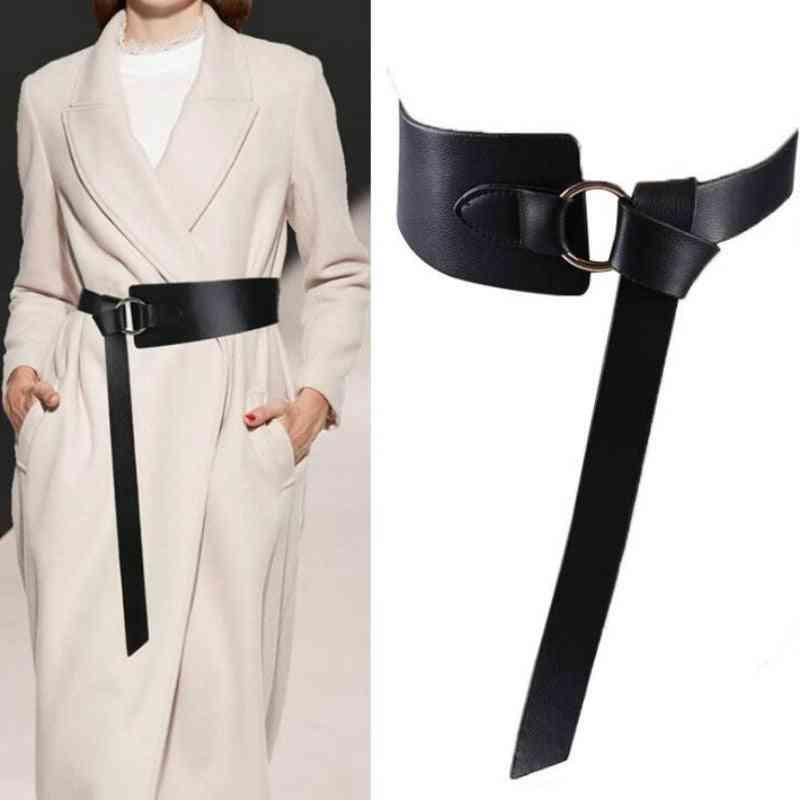 Tie Pattern Wide Leather Corset Belts