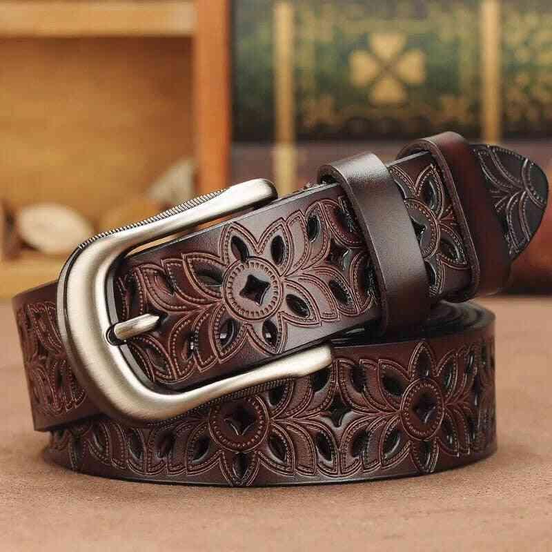 Genuine Leather Vintage Style Pin Buckle Belt