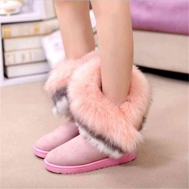 Women Flats Ankle Snow Boots With Fur - Winter Warm Shoes