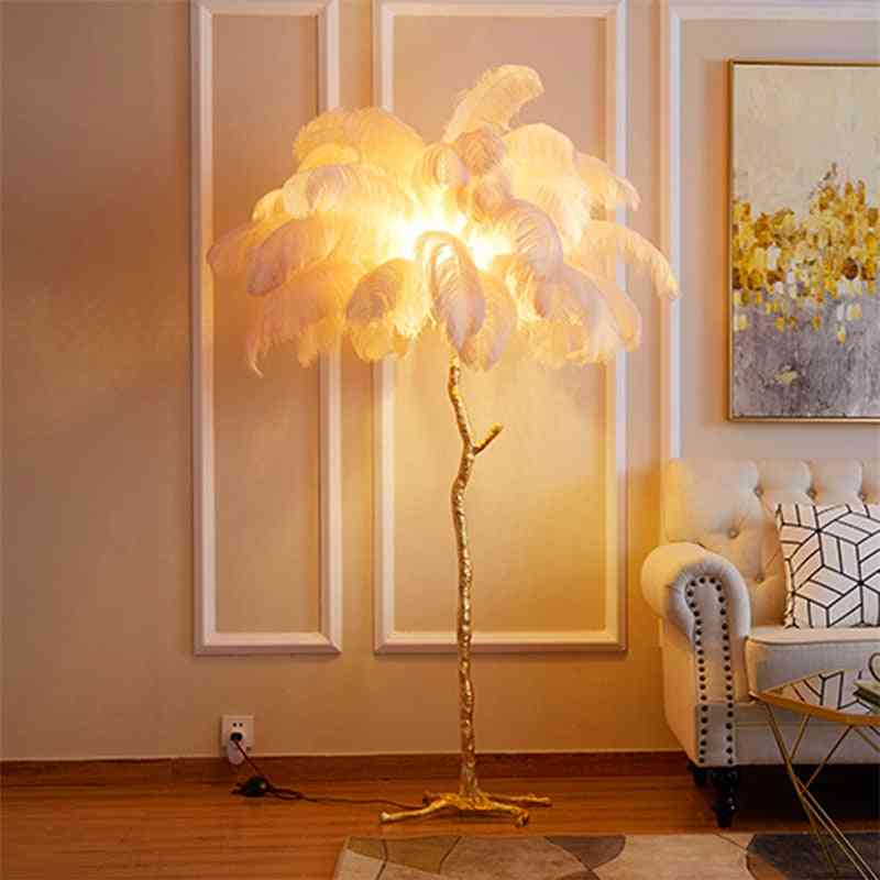 Nordic Ostrich Feather Floor Lamp, Living Room Resin Stand Light