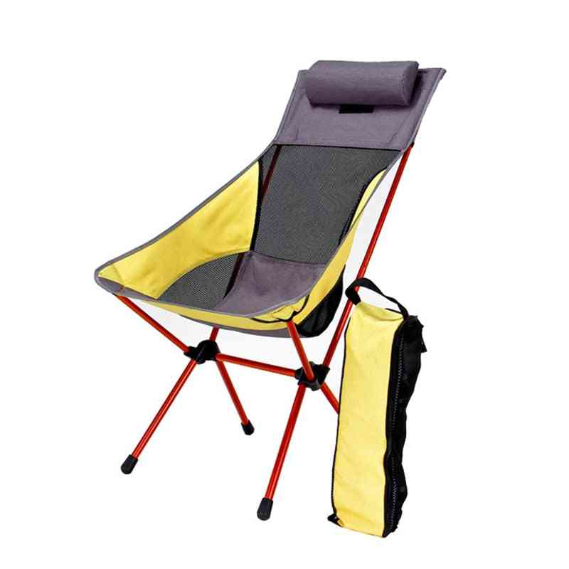 Folding Portable Moon Chair With Pillow - Fishing Camping Extended Hiking Seat