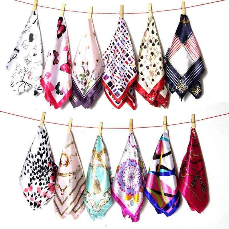 Spring Printed Silk Scarf Women, Ladies, Multifunction, Hair Tie, Headwear, Neckercief