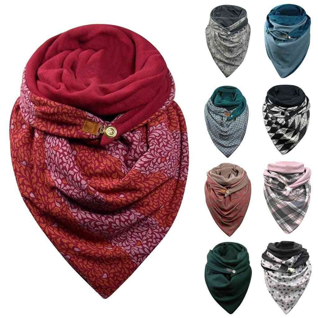 Women Soild Dot Printing Button Soft Wrap Casual Warm Scarves, Shawls Foulard