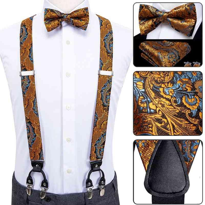 Luxury Silk Adult Men's Suspenders Leather Metal Braces