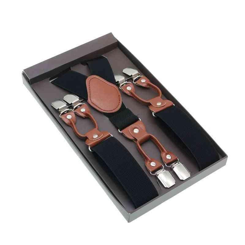 Male Shirt Suspenders Brown Pu Leather Solid Suspenders Western-style