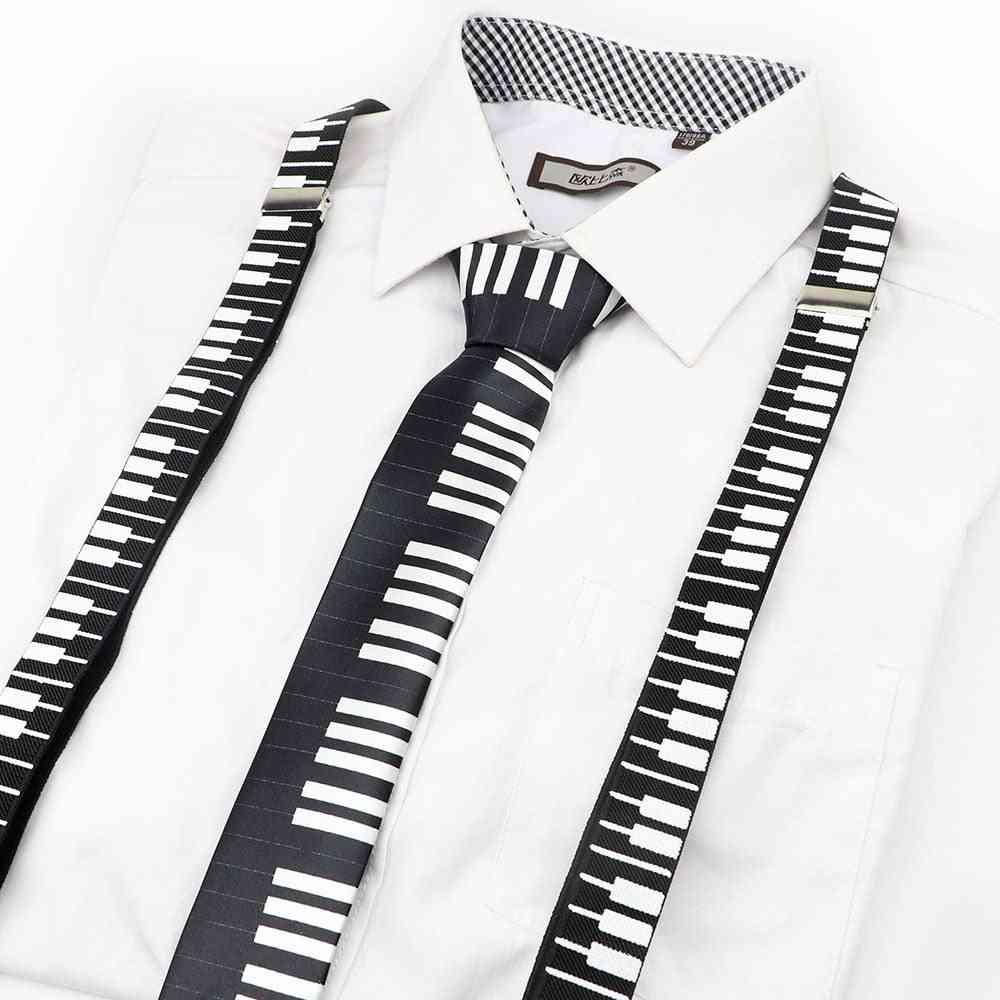 Music Print Suspender Bow Tie Set Men Women Kids Accessory