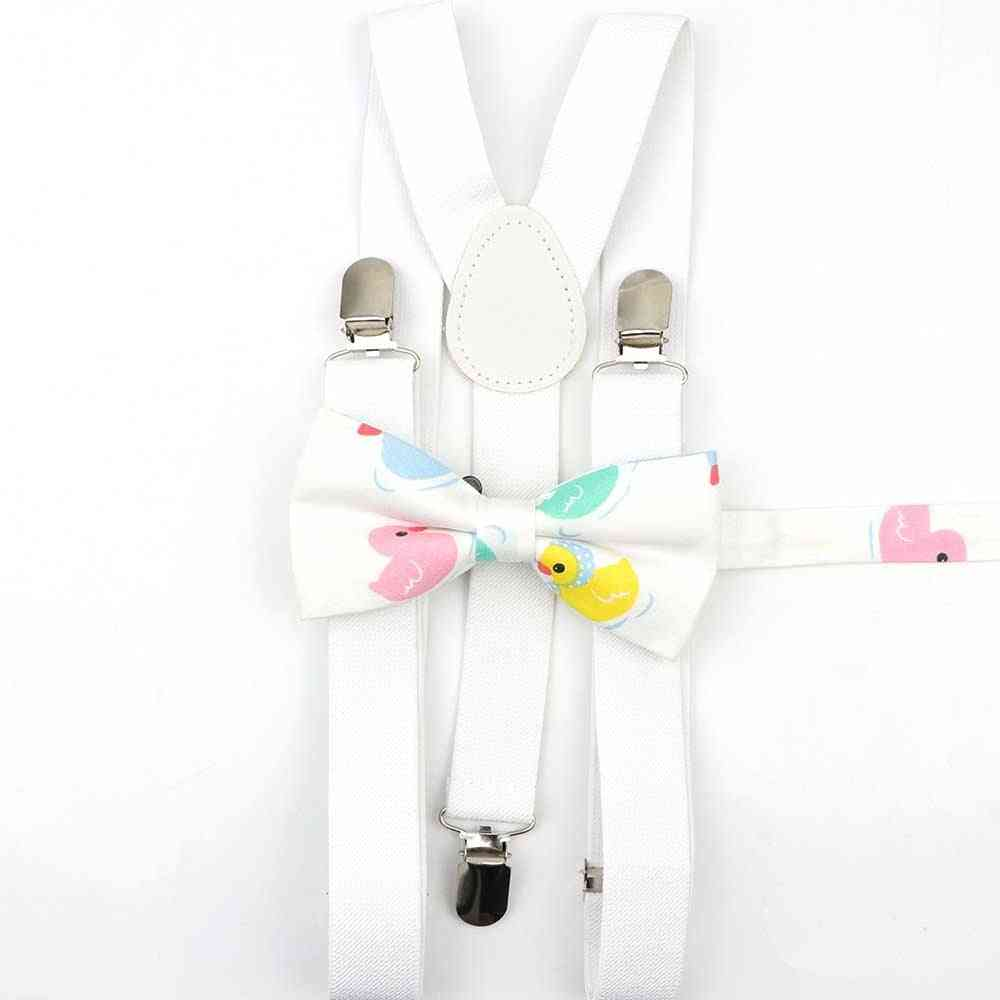 Lovely Cartoon Parent-child Solid Suspenders Bowtie Set