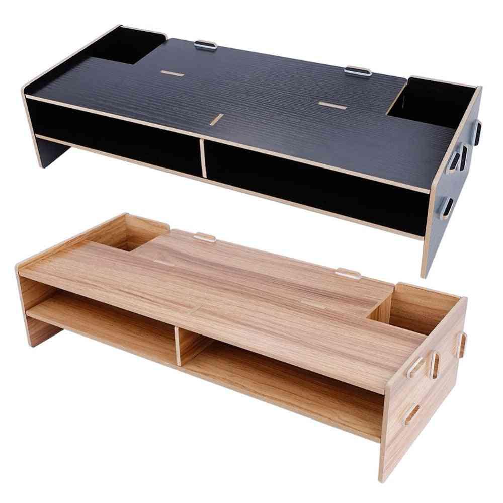 Wood Laptop Stand Desktop Monitor Holder, Heightening Shelf Racsk Stand