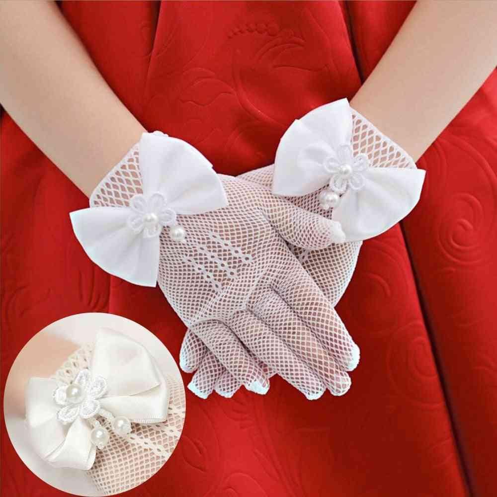 Kids Cream Lace Pearl Fishnet Gloves Communion Flower Girl Party's High Elasticity Mesh Bow (white)