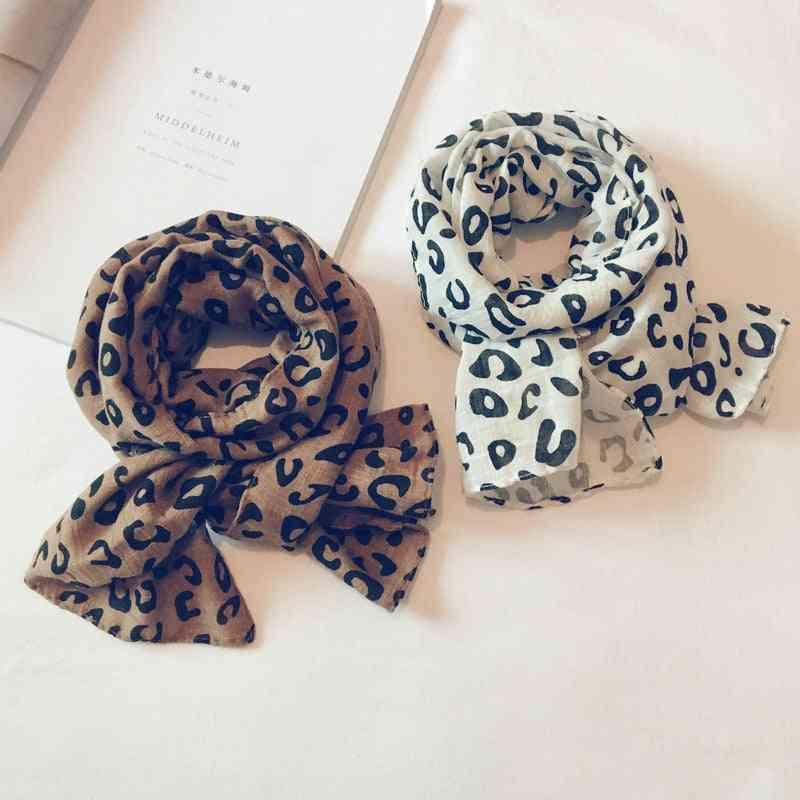 Casual Cotton Leopard Scarf, Soft Warm