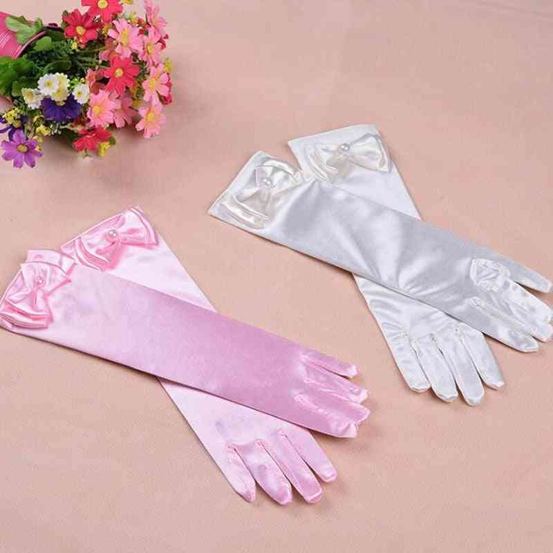 Thin Elastic's Day Professional Dance Gloves, Long Lace Bow Tie Accessories