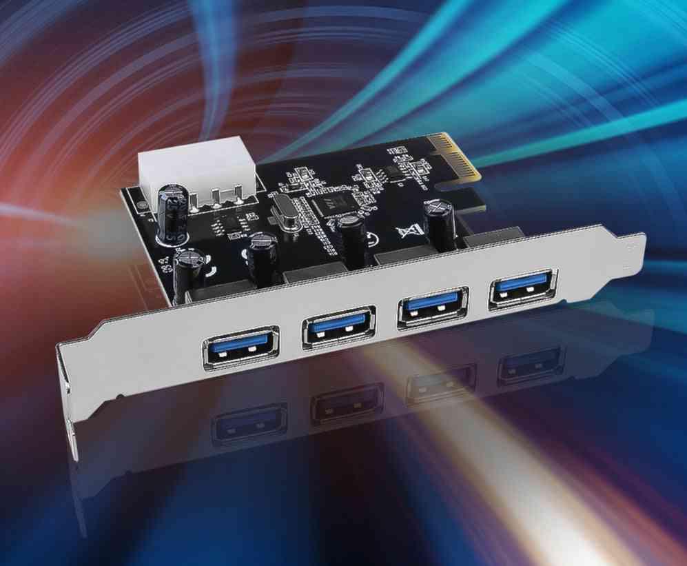 4-port Usb 3.0 Pci-e Expansion Card Pci Express Pcie Usb 3.0 Hub Adapter