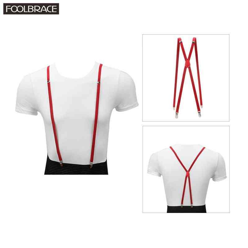 Men Women Unisex Slim Thin Clip-on Pant Suspenders Belt
