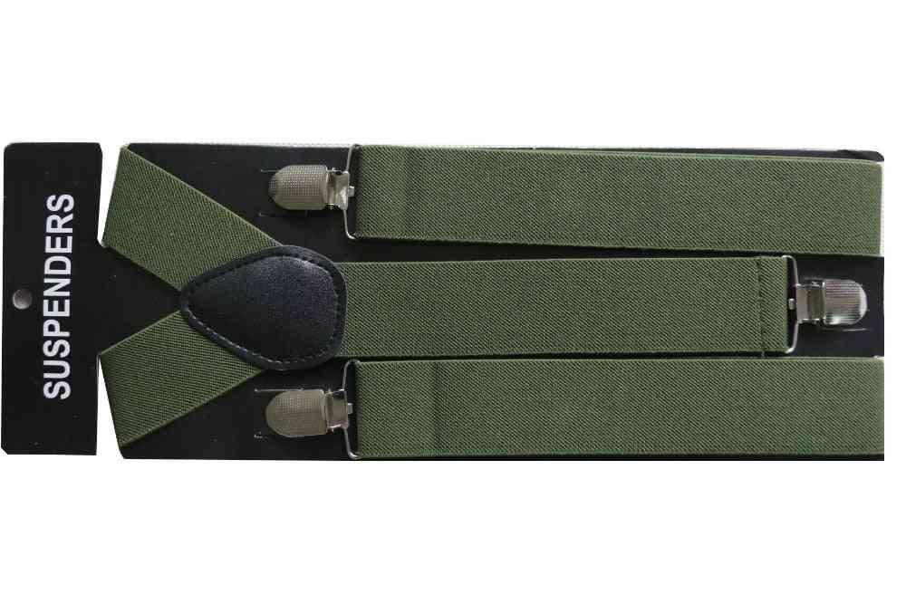 3.5cm Wide Clip-on Adjustable Army  Plain Suspenders